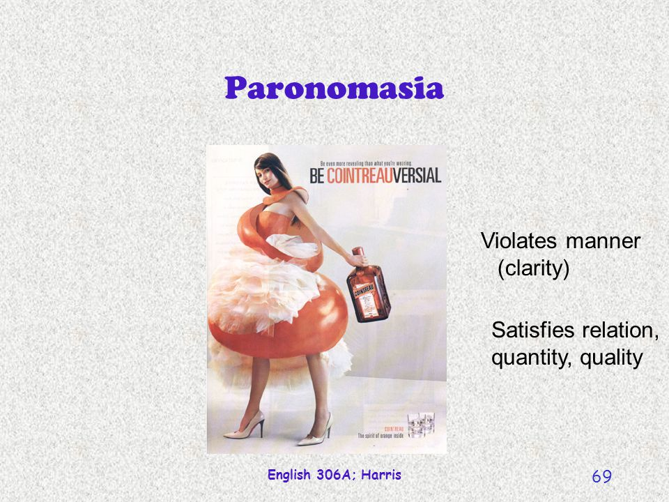 Paronomasia Violates manner (clarity) Satisfies relation,