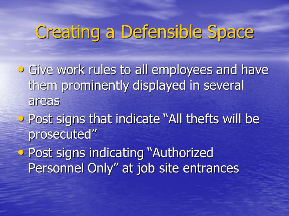 Creating a Defensible Space