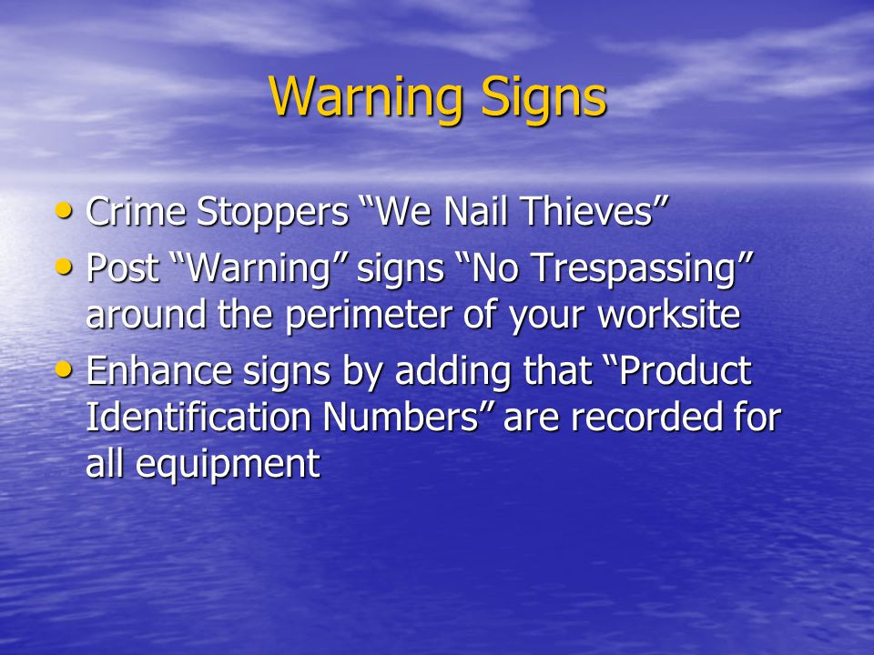 Warning Signs Crime Stoppers We Nail Thieves
