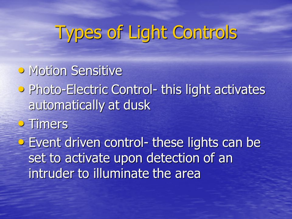Types of Light Controls