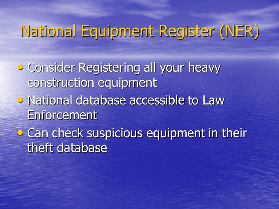 National Equipment Register (NER)