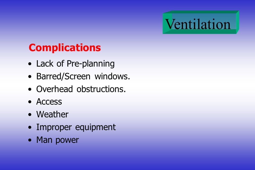 Complications Lack of Pre-planning Barred/Screen windows.