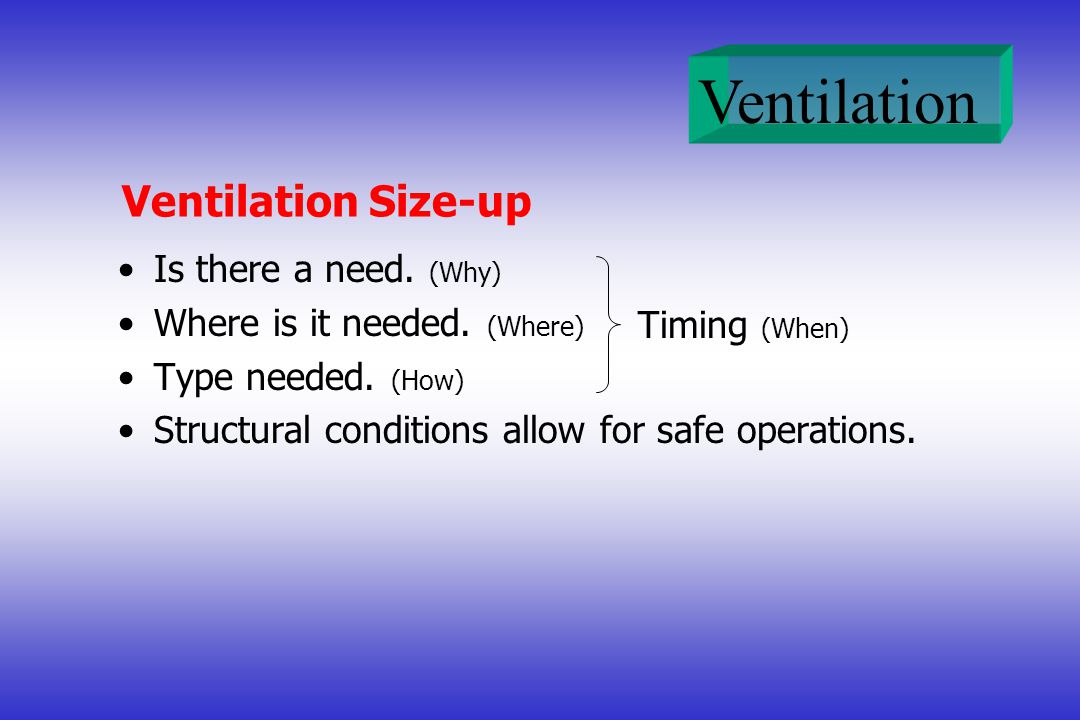 Ventilation Size-up Is there a need. (Why) Where is it needed. (Where)