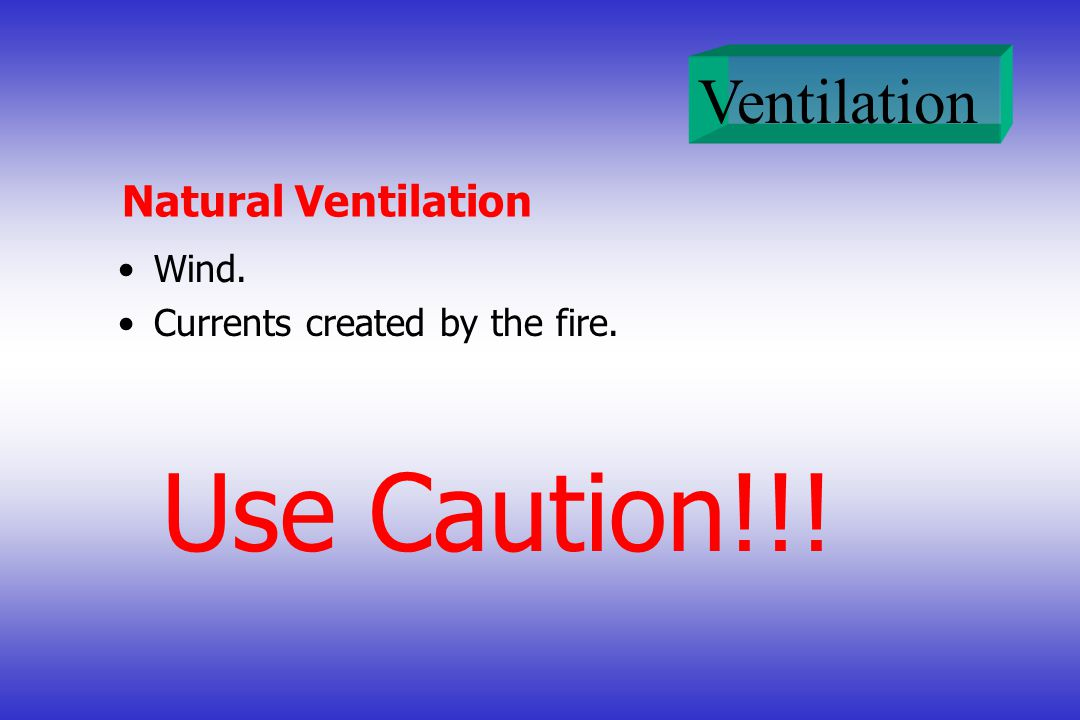 Natural Ventilation Wind. Currents created by the fire. Use Caution!!!