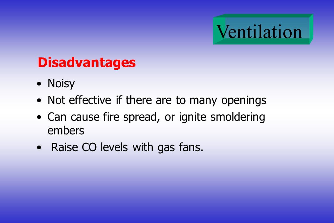 Disadvantages Noisy Not effective if there are to many openings