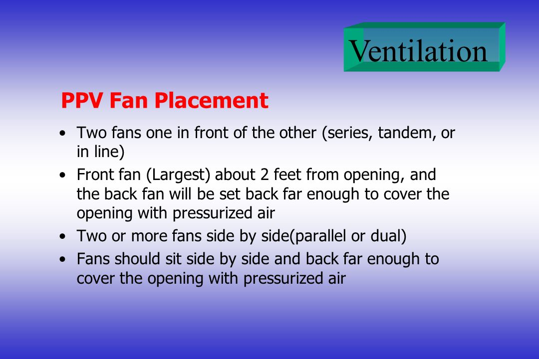 PPV Fan Placement Two fans one in front of the other (series, tandem, or in line)