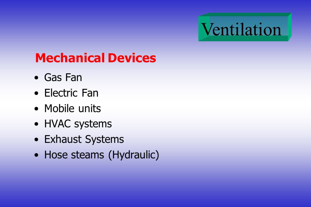 Mechanical Devices Gas Fan Electric Fan Mobile units HVAC systems