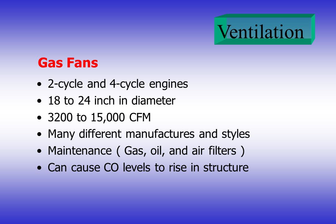 Gas Fans 2-cycle and 4-cycle engines 18 to 24 inch in diameter