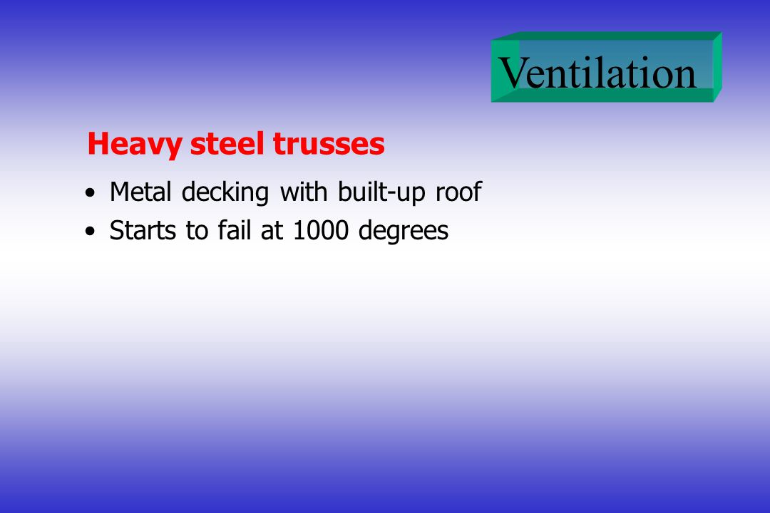 Heavy steel trusses Metal decking with built-up roof