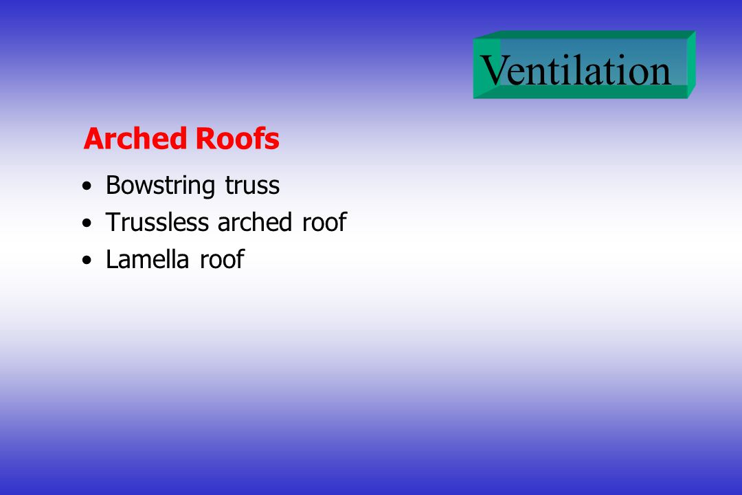 Arched Roofs Bowstring truss Trussless arched roof Lamella roof