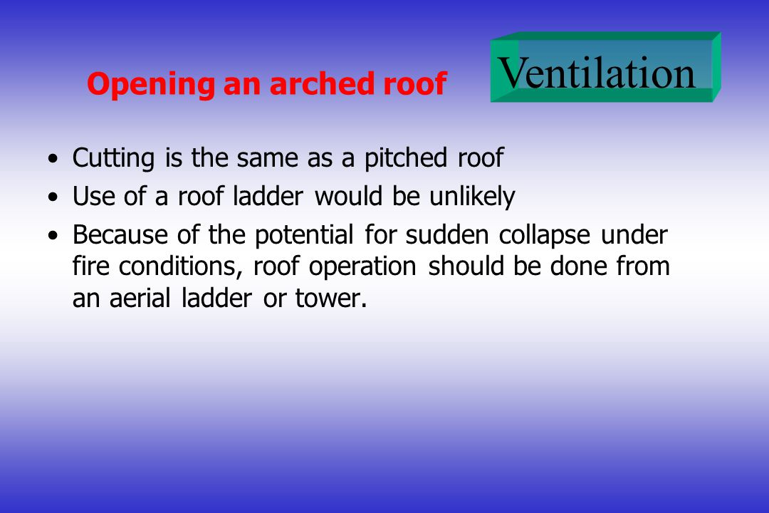 Opening an arched roof Cutting is the same as a pitched roof
