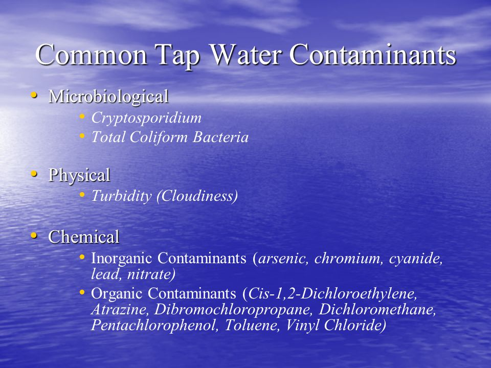 Common Tap Water Contaminants