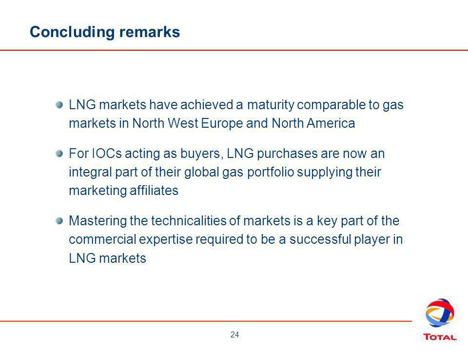 Concluding remarks LNG markets have achieved a maturity comparable to gas markets in North West Europe and North America.