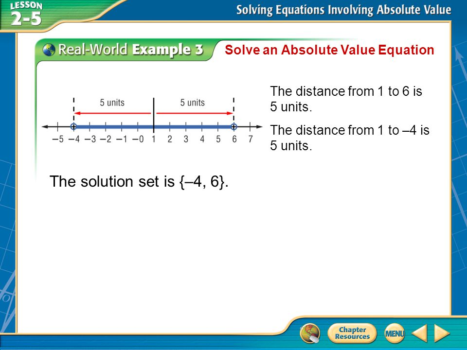 The solution set is {–4, 6}. Solve an Absolute Value Equation