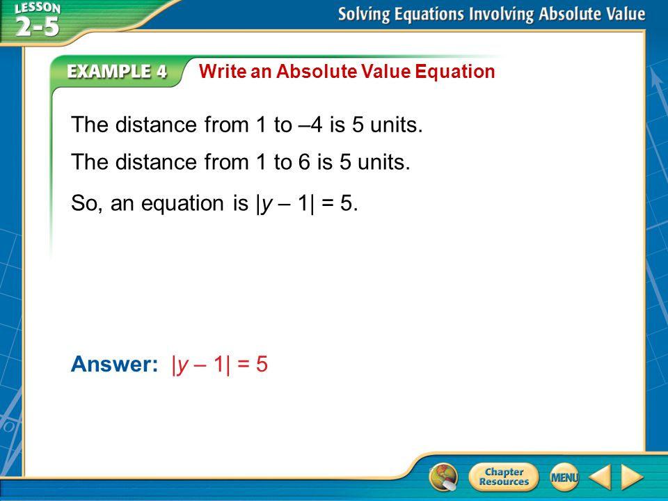 The distance from 1 to –4 is 5 units.