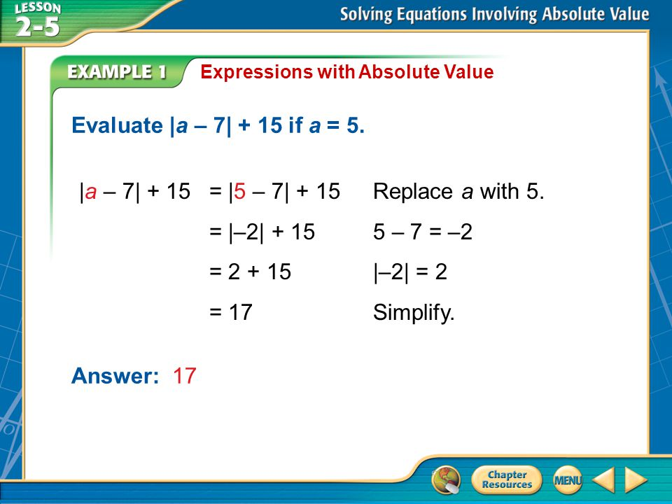 |a – 7| + 15 = |5 – 7| + 15 Replace a with 5. = |–2| + 15 5 – 7 = –2