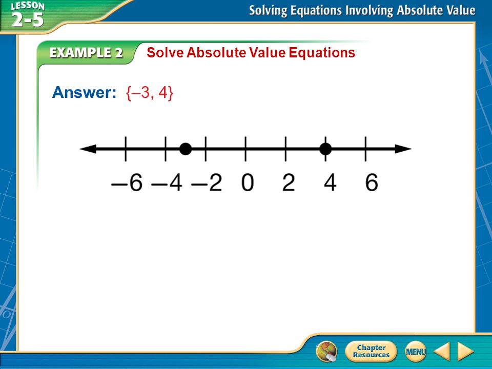 Solve Absolute Value Equations