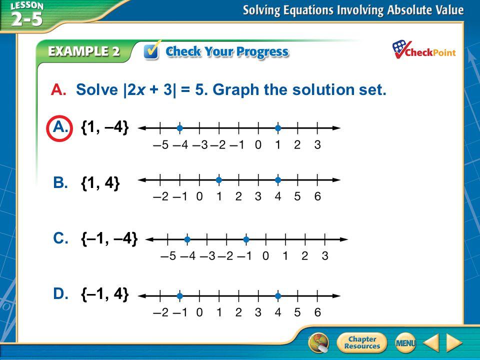 A B C D A. Solve |2x + 3| = 5. Graph the solution set. A. {1, –4}