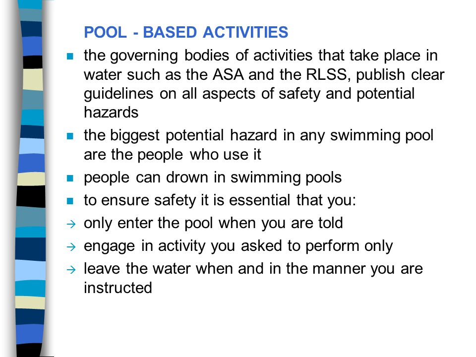POOL - BASED ACTIVITIES