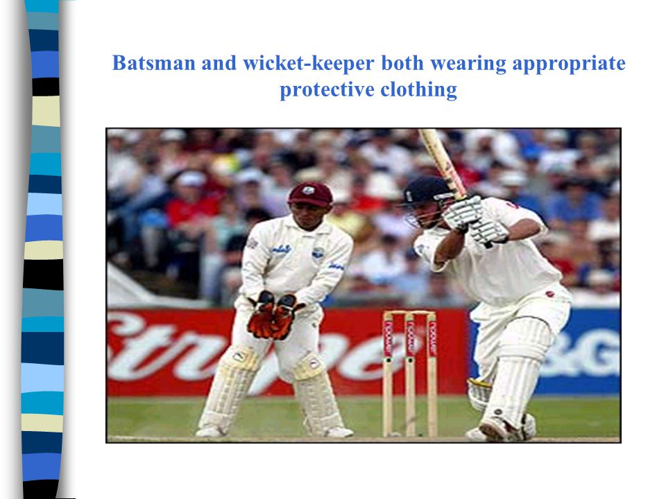 Batsman and wicket-keeper both wearing appropriate protective clothing