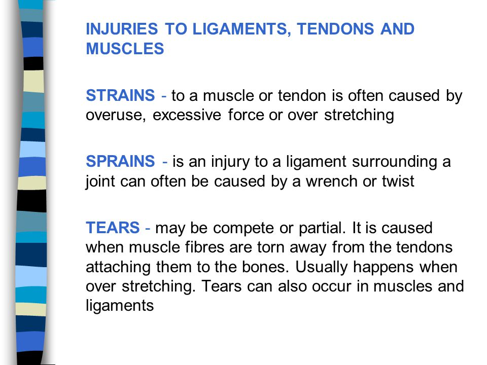 INJURIES TO LIGAMENTS, TENDONS AND MUSCLES
