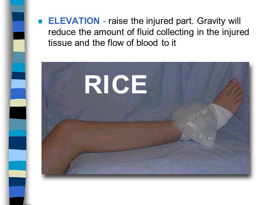 ELEVATION - raise the injured part