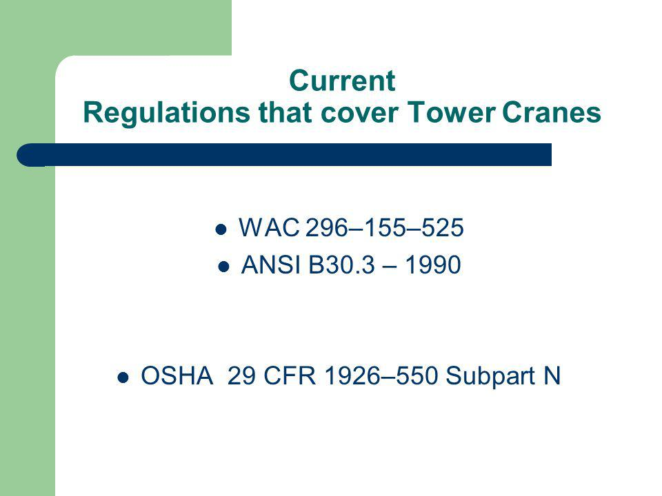 Current Regulations that cover Tower Cranes
