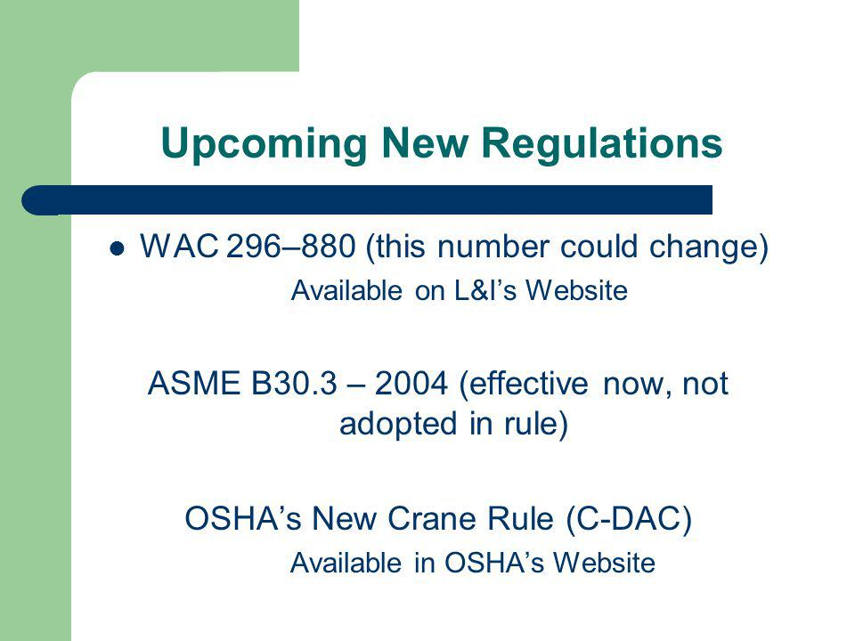 Upcoming New Regulations