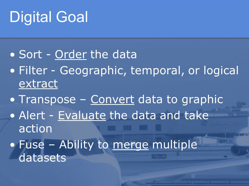 Digital Goal Sort - Order the data