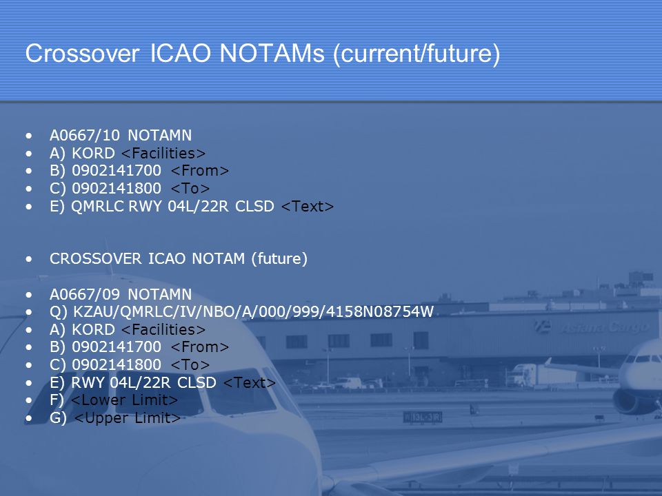 Crossover ICAO NOTAMs (current/future)