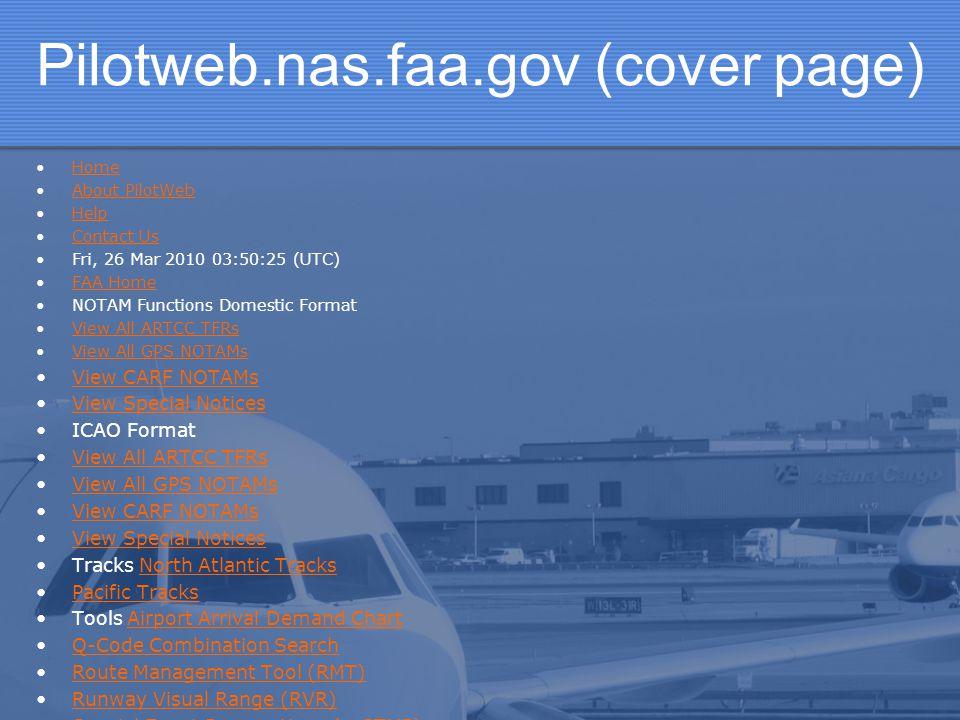 Pilotweb.nas.faa.gov (cover page)