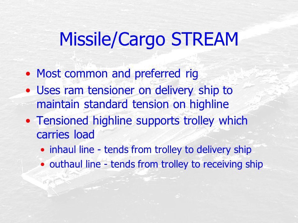 Missile/Cargo STREAM Most common and preferred rig