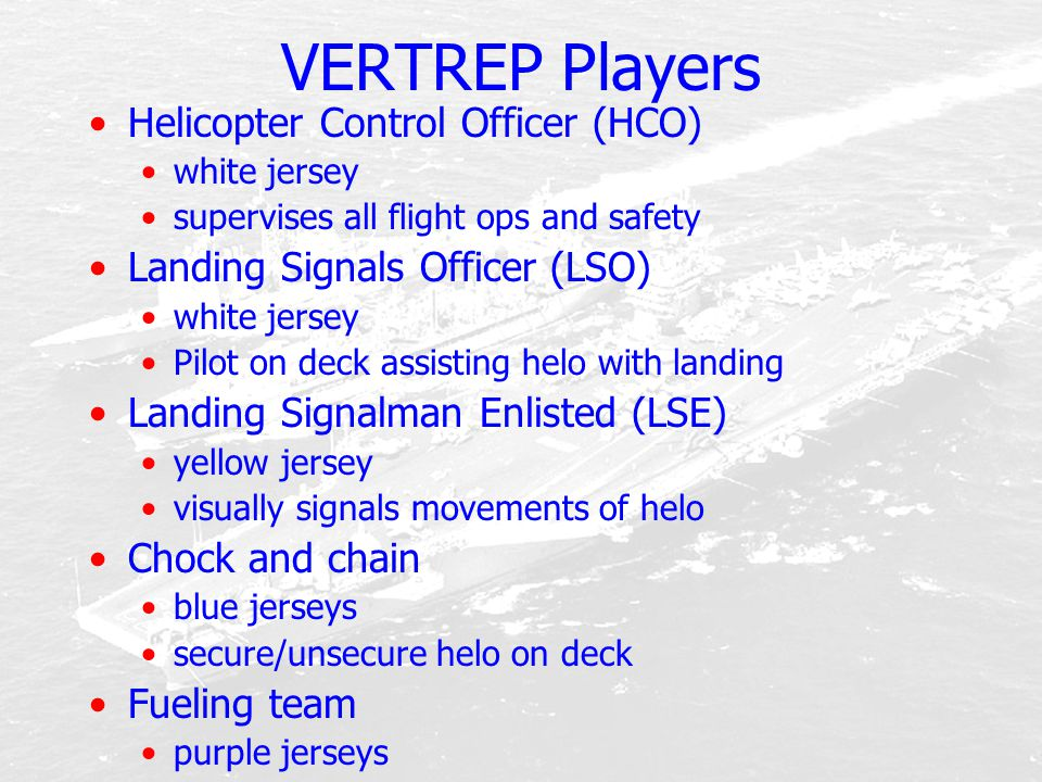 VERTREP Players Helicopter Control Officer (HCO)