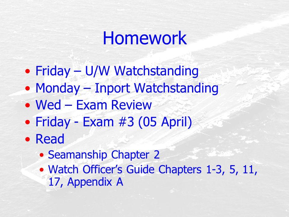 Homework Friday – U/W Watchstanding Monday – Inport Watchstanding
