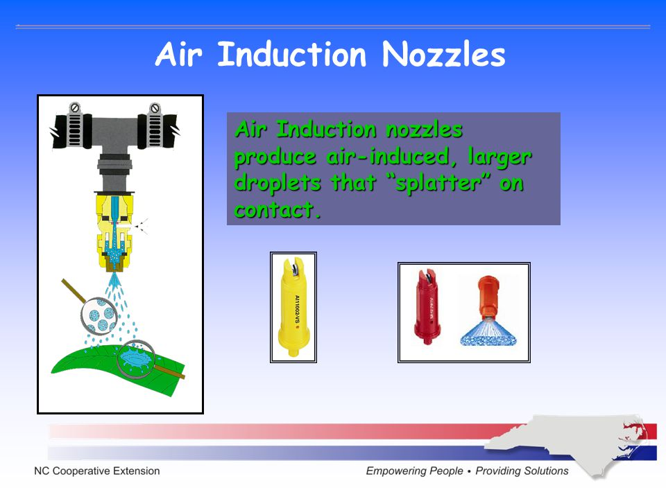 Air Induction Nozzles Air Induction nozzles produce air-induced, larger droplets that splatter on contact.