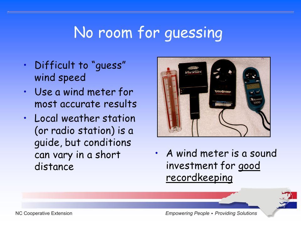 No room for guessing Difficult to guess wind speed