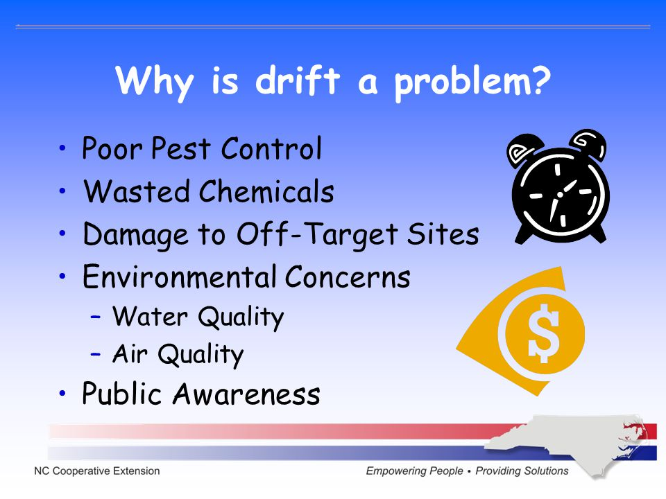 Why is drift a problem Poor Pest Control Wasted Chemicals