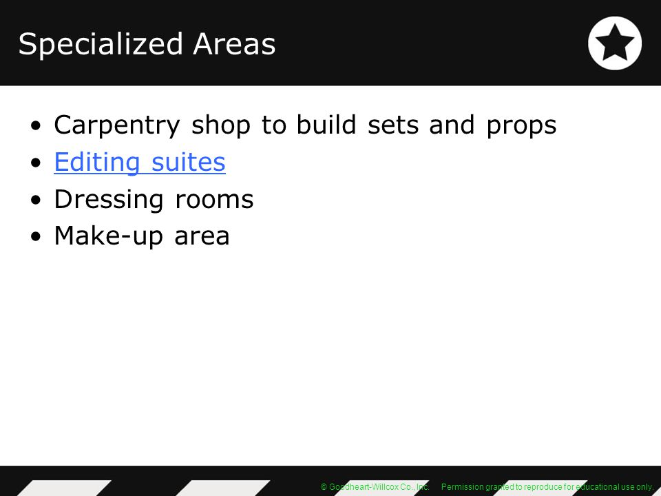 Specialized Areas Carpentry shop to build sets and props