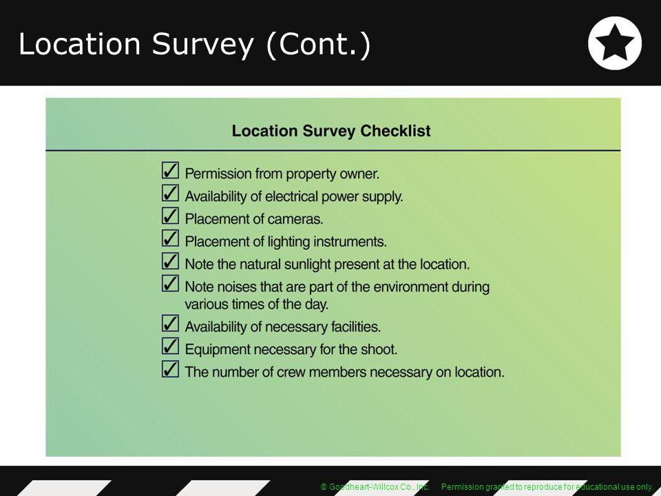 Location Survey (Cont.)