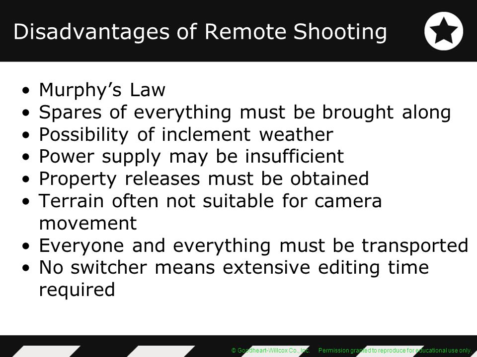 Disadvantages of Remote Shooting