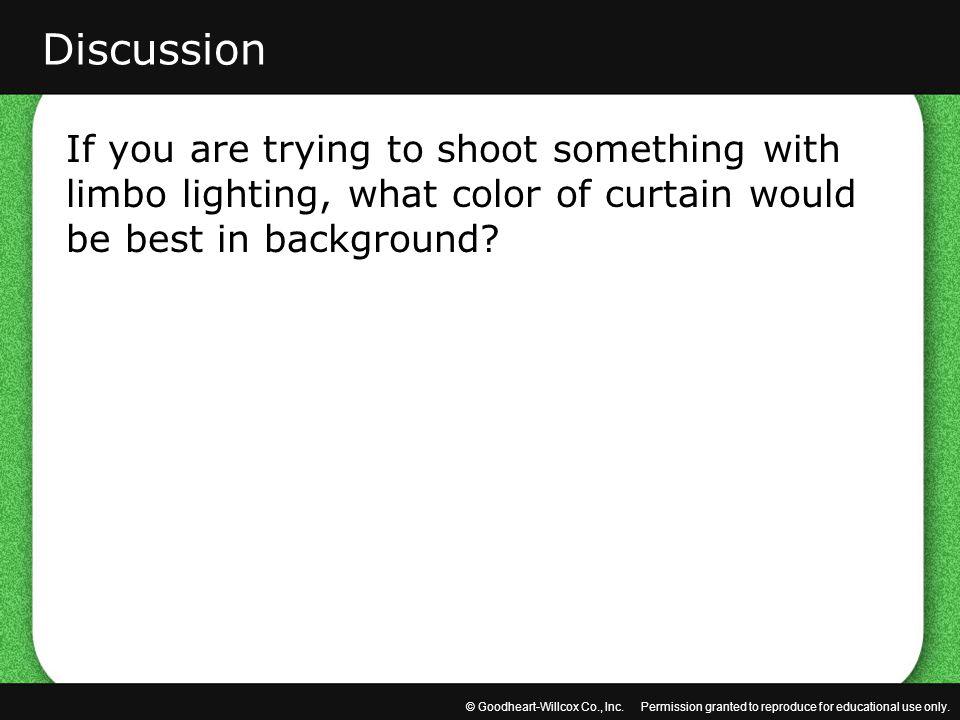Discussion If you are trying to shoot something with limbo lighting, what color of curtain would be best in background