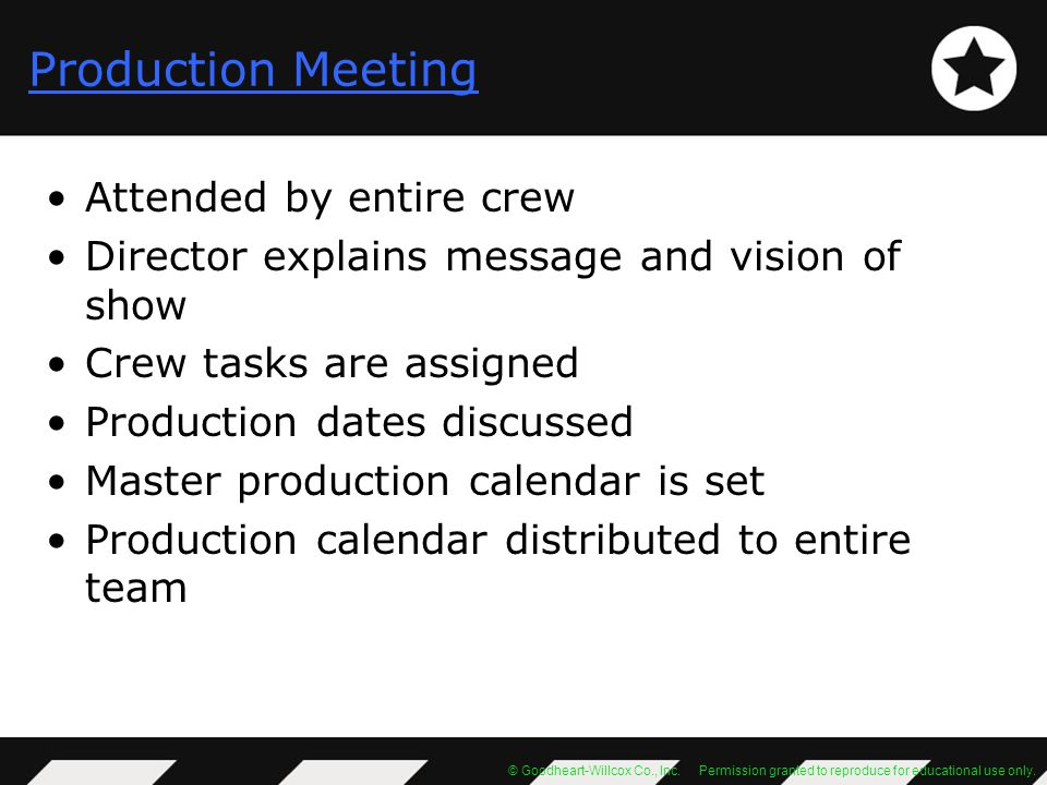 Production Meeting Attended by entire crew