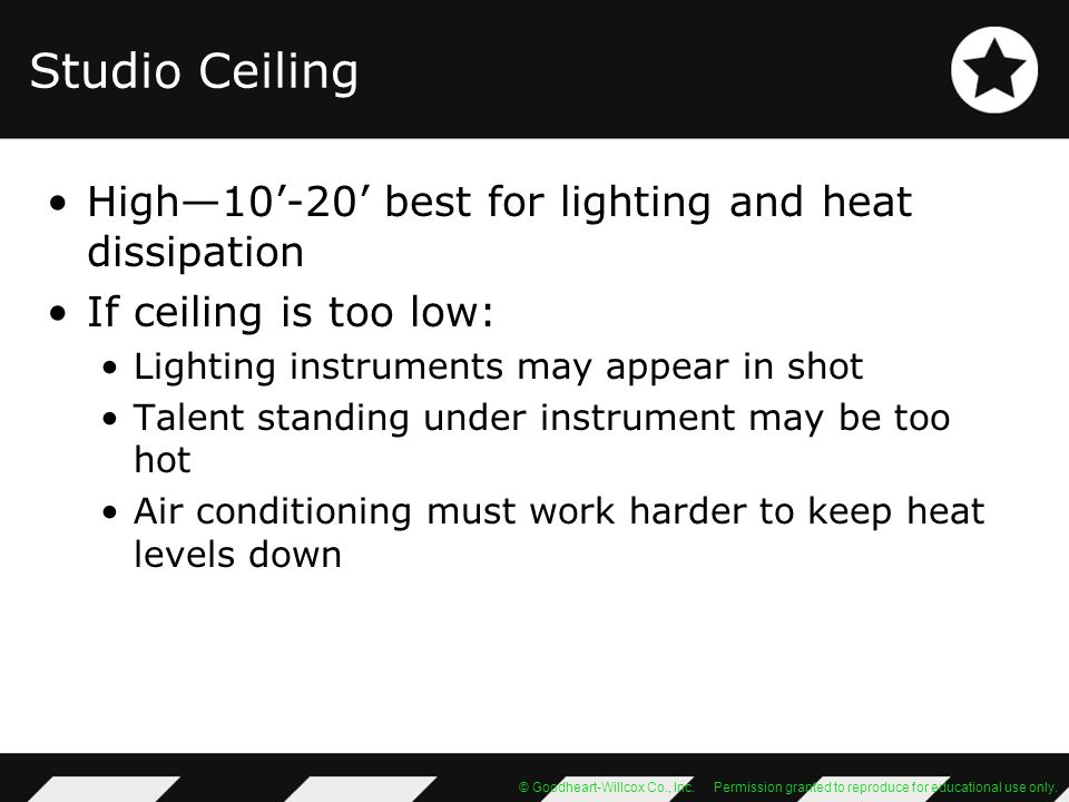 Studio Ceiling High—10'-20' best for lighting and heat dissipation