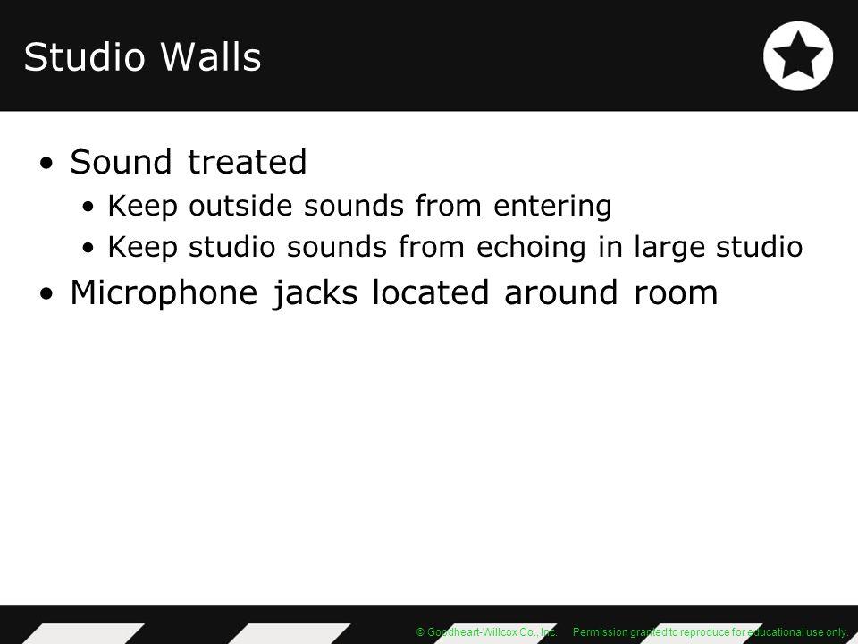 Studio Walls Sound treated Microphone jacks located around room