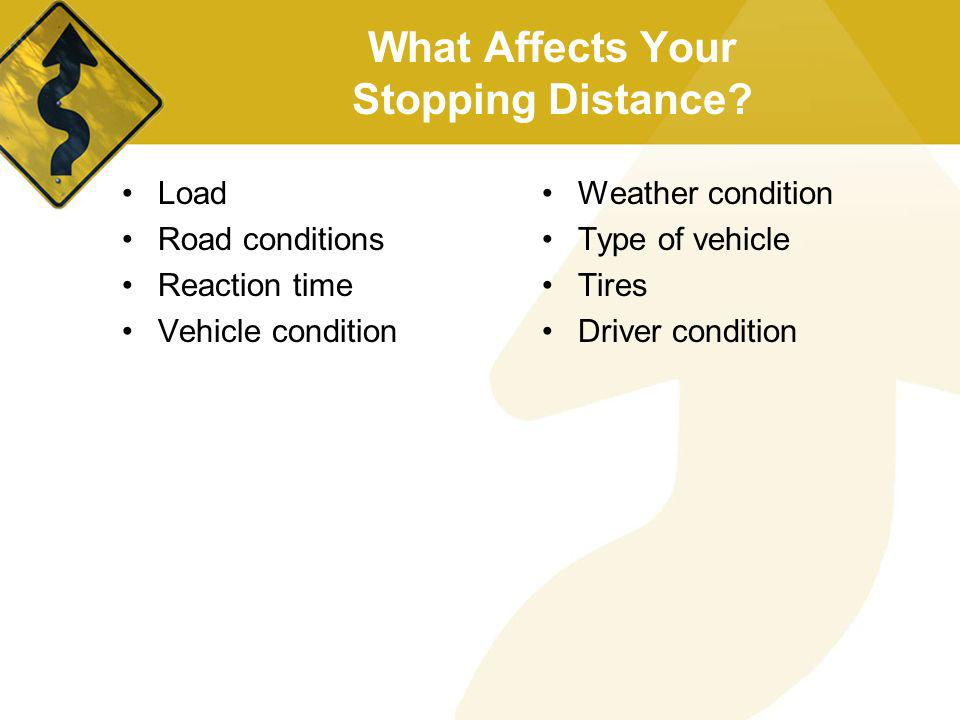 What Affects Your Stopping Distance