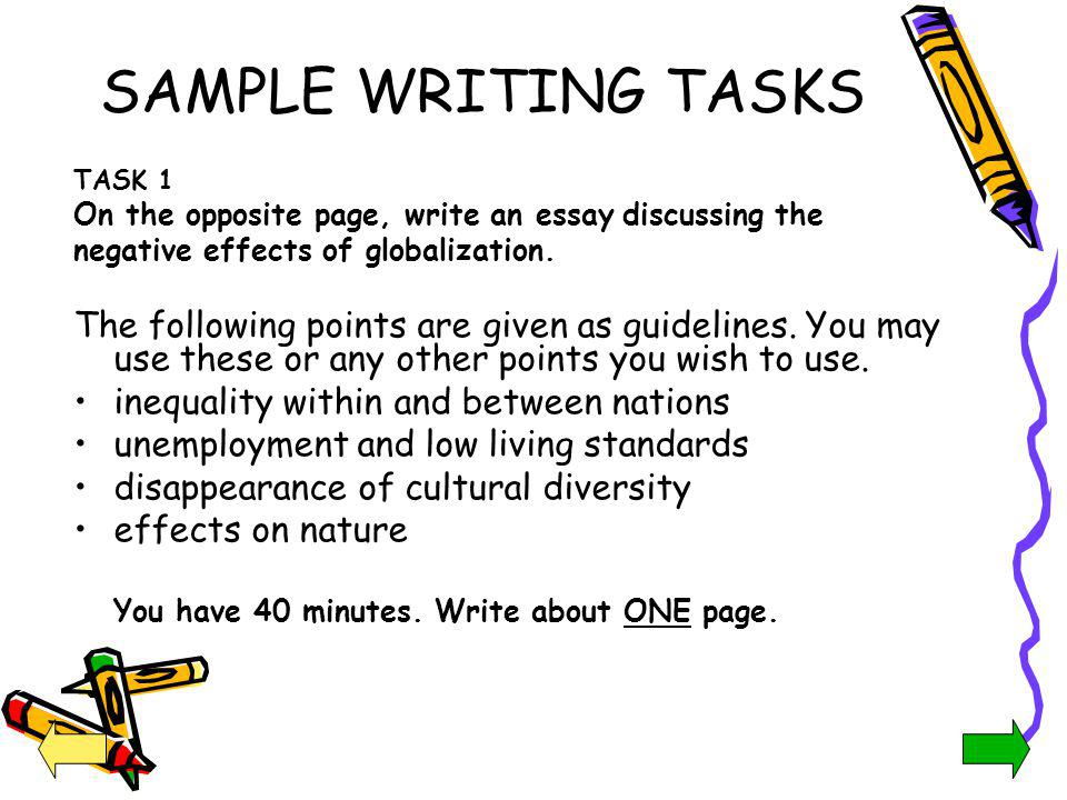 SAMPLE WRITING TASKS TASK 1. On the opposite page, write an essay discussing the. negative effects of globalization.