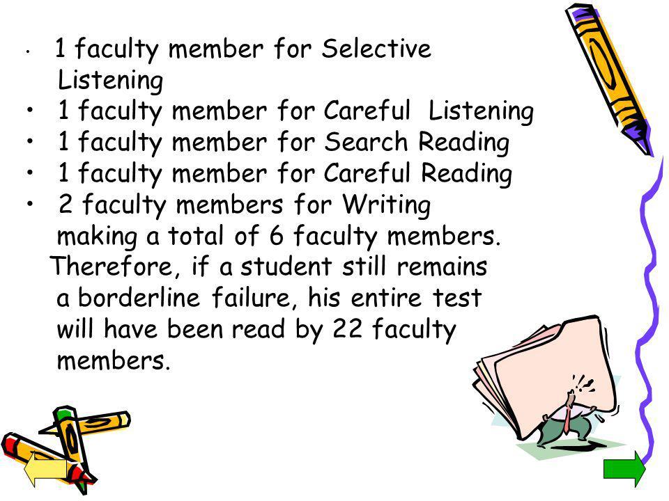1 faculty member for Careful Listening
