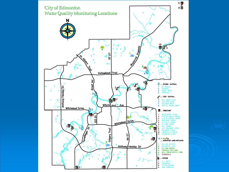 City of Edmonton Water Quality Monitoring Locations