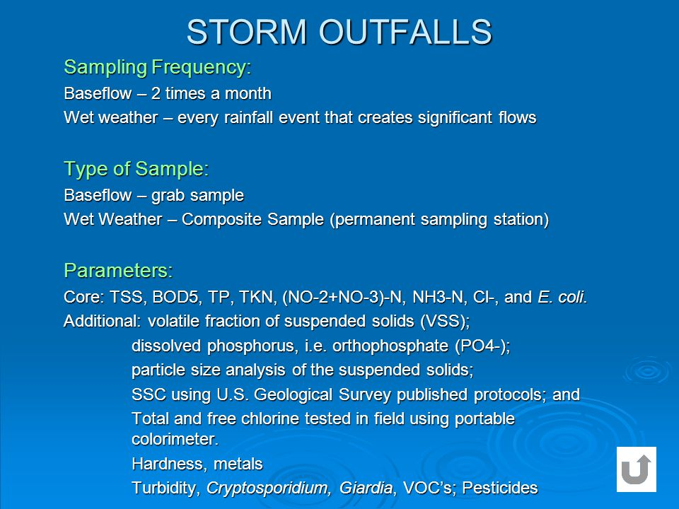 STORM OUTFALLS Sampling Frequency: Type of Sample: Parameters: