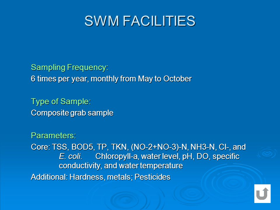 SWM FACILITIES Sampling Frequency: Type of Sample: Parameters: